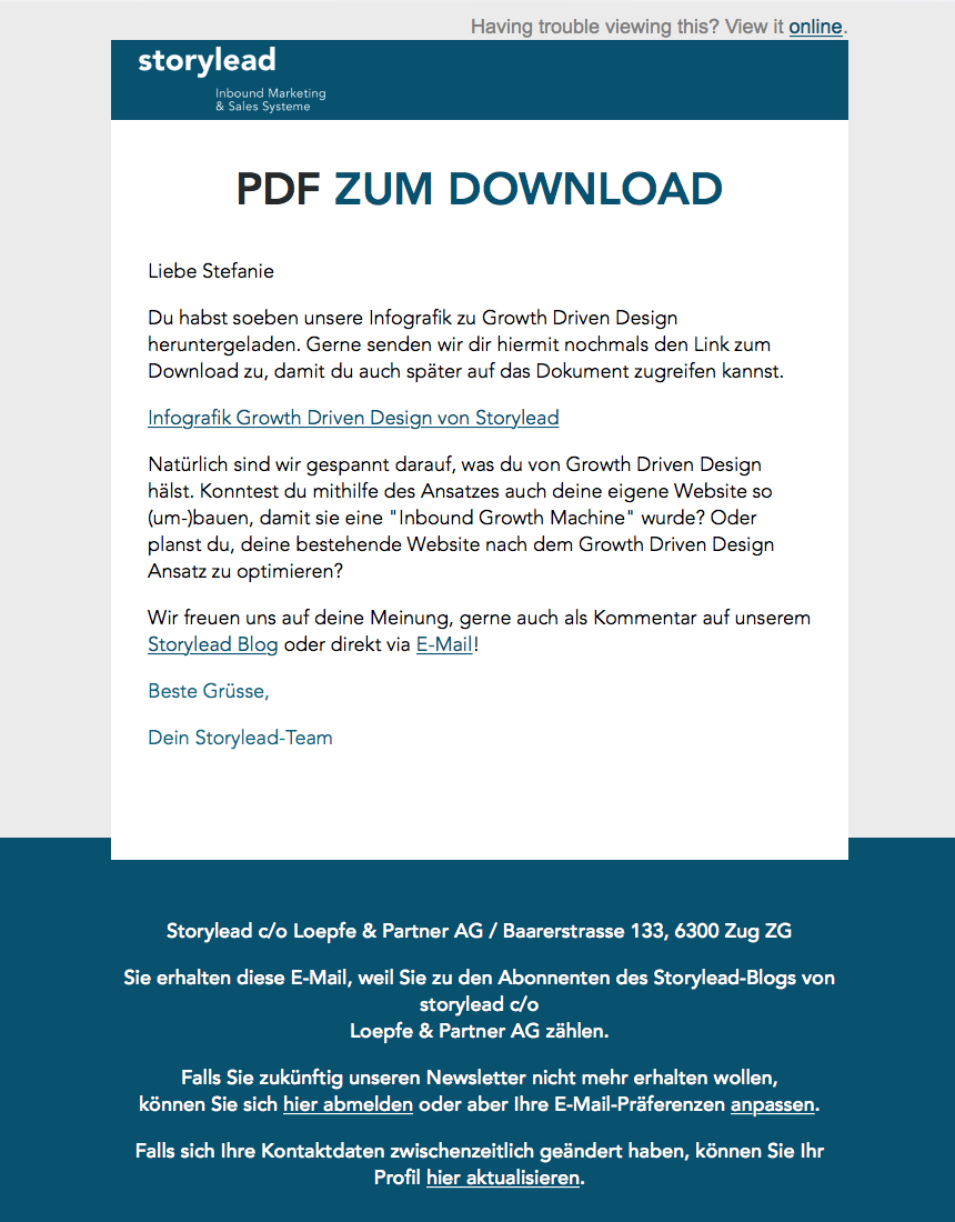 Follow-up E-Mail Storylead zur Infografik Growth Driven Design