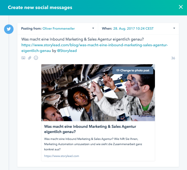 Neues Twitter Design Cards mit HubSpot Social Publishing